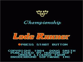 Title screen of Championship Lode Runner on the Nintendo NES.