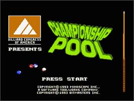 Title screen of Championship Pool on the Nintendo NES.