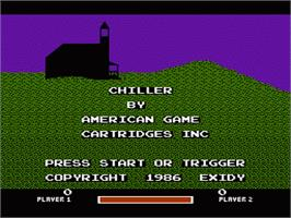 Title screen of Chiller on the Nintendo NES.