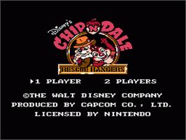 Title screen of Chip'n Dale: Rescue Rangers on the Nintendo NES.