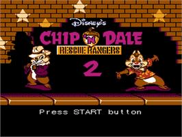 Title screen of Chip 'N Dale Rescue Rangers 2 on the Nintendo NES.