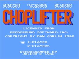 Title screen of Choplifter on the Nintendo NES.