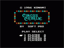 Title screen of Circus Charlie on the Nintendo NES.