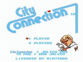 Title screen of City Connection on the Nintendo NES.