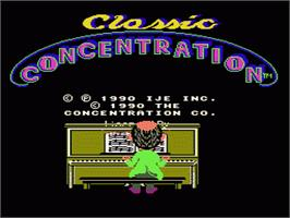 Title screen of Classic Concentration on the Nintendo NES.