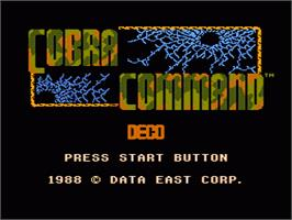 Title screen of Cobra-Command on the Nintendo NES.