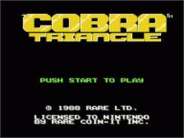 Title screen of Cobra Triangle on the Nintendo NES.