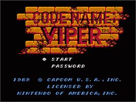 Title screen of Code Name: Viper on the Nintendo NES.