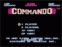 Title screen of Commando on the Nintendo NES.