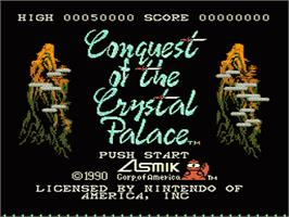 Title screen of Conquest of the Crystal Palace on the Nintendo NES.