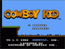 Title screen of Cowboy Kid on the Nintendo NES.