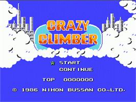 Title screen of Crazy Climber on the Nintendo NES.