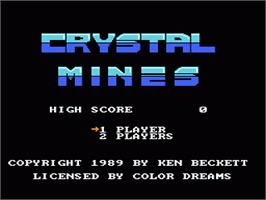 Title screen of Crystal Mines on the Nintendo NES.