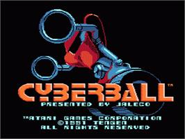 Title screen of Cyberball on the Nintendo NES.