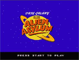 Title screen of Dash Galaxy in the Alien Asylum on the Nintendo NES.