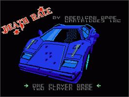 Title screen of Death Race on the Nintendo NES.