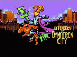 Title screen of Defenders of Dynatron City on the Nintendo NES.