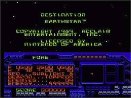 Title screen of Destination Earthstar on the Nintendo NES.