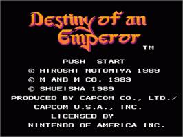 Title screen of Destiny of an Emperor on the Nintendo NES.