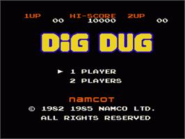 Title screen of Dig Dug on the Nintendo NES.