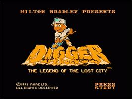 Title screen of Digger T. Rock: Legend of the Lost City on the Nintendo NES.