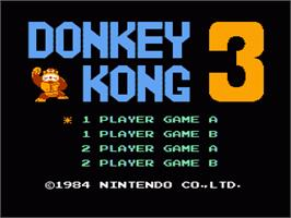 Title screen of Donkey Kong 3 on the Nintendo NES.