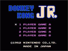 Title screen of Donkey Kong Junior on the Nintendo NES.