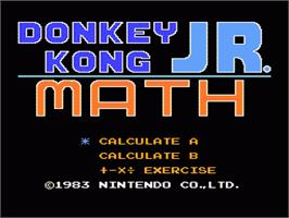 Title screen of Donkey Kong Junior Math on the Nintendo NES.