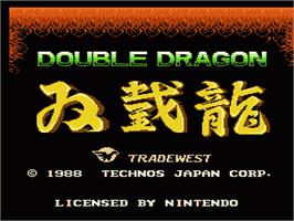 Title screen of Double Dragon on the Nintendo NES.