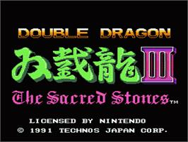 Title screen of Double Dragon 3 - The Rosetta Stone on the Nintendo NES.