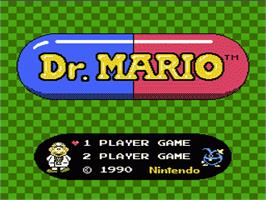 Title screen of Dr. Mario on the Nintendo NES.