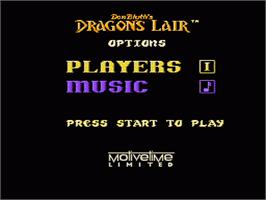 Title screen of Dragon's Lair on the Nintendo NES.
