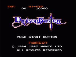 Title screen of Dragon Buster on the Nintendo NES.