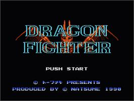 Title screen of Dragon Fighter on the Nintendo NES.