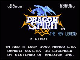 Title screen of Dragon Spirit on the Nintendo NES.