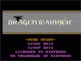 Title screen of Dragon Warrior on the Nintendo NES.