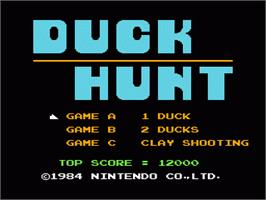 Title screen of Duck Hunt on the Nintendo NES.