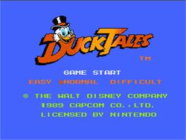 Title screen of Duck Tales on the Nintendo NES.
