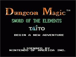 Title screen of Dungeon Magic: Sword of the Elements on the Nintendo NES.