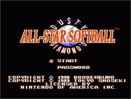 Title screen of Dusty Diamond's All-Star Softball on the Nintendo NES.