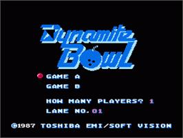 Title screen of Dynamite Bowl on the Nintendo NES.