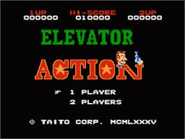 Title screen of Elevator Action on the Nintendo NES.