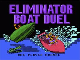 Title screen of Eliminator Boat Duel on the Nintendo NES.