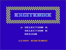 Title screen of Excite Bike on the Nintendo NES.