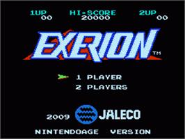 Title screen of Exerion on the Nintendo NES.