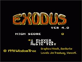 Title screen of Exodus: Journey to the Promised Land on the Nintendo NES.