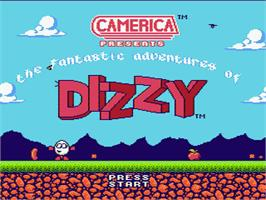 Title screen of Fantastic Adventures of Dizzy on the Nintendo NES.