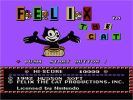 Title screen of Felix the Cat on the Nintendo NES.
