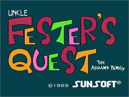 Title screen of Fester's Quest on the Nintendo NES.
