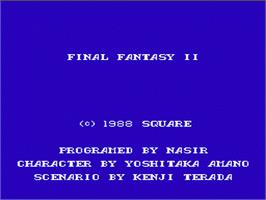 Title screen of Final Fantasy 2 on the Nintendo NES.